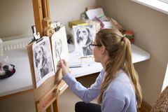 Side View Of Female Teenage Artist Sitting At Easel Drawing Picture Of Dog From Photograph In Charcoal royalty free stock photos