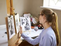 Side View Of Female Teenage Artist Sitting At Easel Drawing Picture Of Dog From Photograph In Charcoal royalty free stock photo