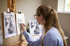 Side View Of Female Teenage Artist Sitting At Easel Drawing Picture Of Dog From Photograph In Charcoal royalty free stock image