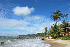 Side view of ferry bridge. Ferry bridge on the Thai beach with palms Royalty Free Stock Image