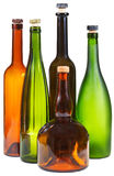 Side view of few empty closed wine bottles Royalty Free Stock Photo