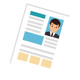 Side view file info with curriculum vitae sheet. Vector illustration Royalty Free Stock Photo