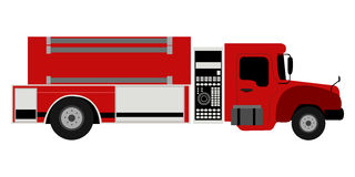 Side view of a fire truck. Vector illustration Royalty Free Stock Photography
