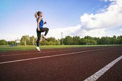 Side view of a fit young woman jogging at the stadium. A young athlete runs in sportswear at the stadium in the early Stock Photography
