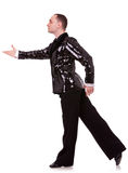 Side view of a flashy male latino dancer Royalty Free Stock Images