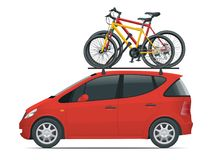 Side view flat Mini car with two bicycles mounted on the roof rack. Flat style vector illustration isolated on white. Side view flat red Mini car with two Stock Images