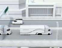 Side view of a fleet of self-driving electric semi trucks driving on highway vector illustration