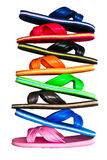 Side view of flip flops with isolated on white. Side view of flip flops colour collection isolated on white Stock Photography