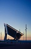 Side view of Forum at sunset. Barcelona's Forum's Solar Panels construction against sunset Royalty Free Stock Photography