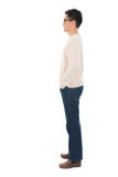 Side view full body casual Asian man. Standing isolated on white background Royalty Free Stock Photos