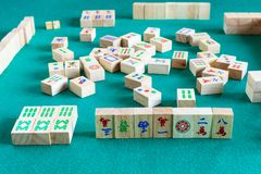 Side view of gameboard of mahjong game royalty free stock photo