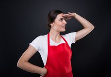 Side view of girl employee looking far away Royalty Free Stock Image