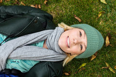 Side view of a girl on grass Stock Photography