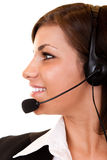 Side view of  girl with headset Stock Images