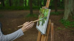 Side view of a girl`s hand painting a landscape on canvas in a park. Palm, brush, easel in the foreground, tree trunks of trees and greenery in the background stock footage
