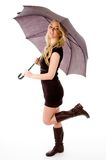 Side view of glamorous model carrying umbrella Royalty Free Stock Photos