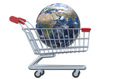 Side view globe and shopping cart with clipping path. 3D render  on white background Royalty Free Stock Image