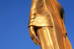 Side view gold statue of closeup buddha hand Royalty Free Stock Images