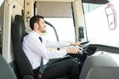 He`s Focused When He`s On The Road stock images
