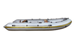 Side view on the gray inflatable rubber boat Dinghy PVC. Stock Photos