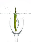 Chili pepper in water. Side view of green chili pepper in glass underwater, white background Stock Images