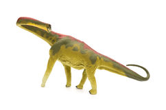 Side view green Mamenchisaurus toy on white background stock image