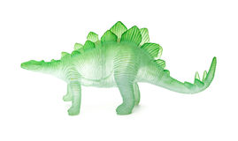 Side view green stegosaurus toy onwhite Royalty Free Stock Photography