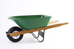 Side view of green wheel barrel Stock Photo
