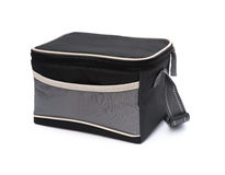 Side view grey and black lunch pack carrier on white Royalty Free Stock Photography