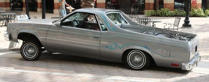 Side view of grey Ford El Camino automobile. Royalty Free Stock Photos