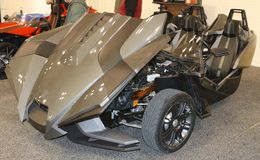 Side view of Grey 2015 Polaris Slingshot Royalty Free Stock Photography