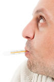 Side view of half face with thermometer in mouth Stock Photography