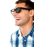 Side view of handsome smiling caucasian guy Royalty Free Stock Image