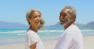 Side view of happy active senior African American couple standing on beach in the sunshine 4k