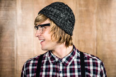 Side view of Happy blond hipster smiling Stock Photography