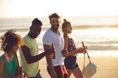 Group of friends holding beer bottles and walking together on the beach. Side view of happy group of diverse friends holding beer bottles and walking together on stock photos