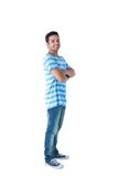 Side view of happy man with arms crossed Stock Images