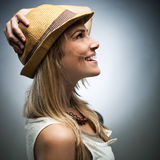 Side View of Happy Woman in Trendy Attire Stock Images