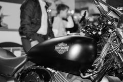 Side view of Harley Davidson motorcycle. Belgrade,Serbia - March 20,2016. Side view of Harley Davidson motorcycle on annual public Belgrade car show 2016. Focus royalty free stock photo