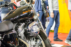 Side view of Harley Davidson 883 motorcycle. Belgrade,Serbia - March 20,2016. Side view of Harley Davidson 883 motorcycle on annual public Belgrade car show 2016 royalty free stock images