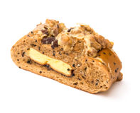 Side view healthy and yummy bread with walnut raisin and melon seed with clipping path Royalty Free Stock Photos