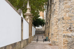 Side-view on the historical aqueduct in Coimbra Royalty Free Stock Image