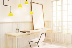 Side view of a home office with a futuristic lamp, toned. Side view of a home office with a wooden table, white chair and a large window. Futuristic lamp is Stock Photos