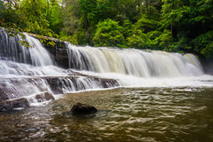 Side view of Hooker Falls on the Little River in Dupont State Fo Royalty Free Stock Images
