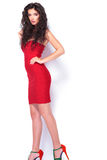 Side view of a hot woman wearing a red dress, Royalty Free Stock Photo