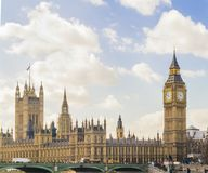 Side view of Houses of Parliament, London. With Westminster Bridge at bottom of picture Royalty Free Stock Images