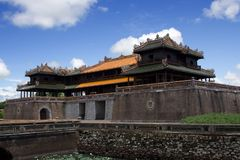 Side view on the Hue Imperial Palace in the Imperial City, Hue, Central Vietnam. Royalty Free Stock Images