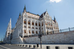 Side view of the hungarian parliament in Budapest, Europe. Royalty Free Stock Image