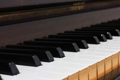 Side view image of some wooden piano tiles. This is a side view image of some wooden old antique piano tiles Stock Photography