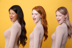 Side view image of young winking three ladies. Standing over yellow background. Looking at camera Royalty Free Stock Photo